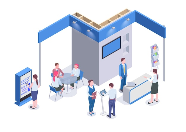Mensen die naar beursstands kijken en communiceren met spullen op tentoonstelling 3d isometrische illustratie
