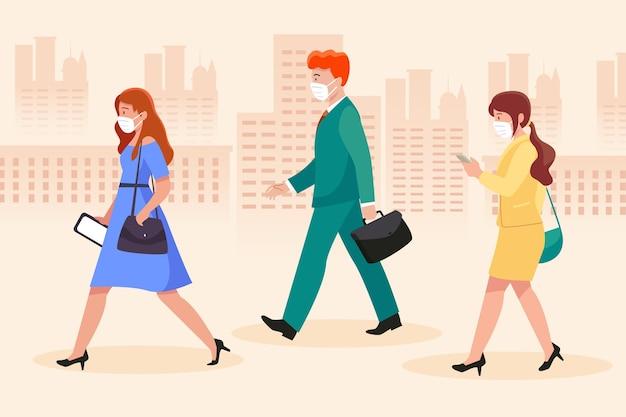 Mensen die naar hun werk lopen en maskers dragen