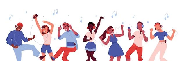 Mensen die naar muziek luisteren en dansen