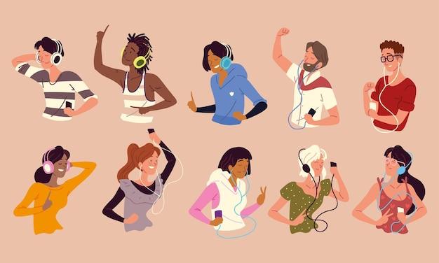 Mensen die naar muziek luisteren