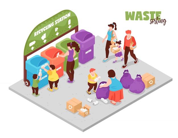 Mensen die nul afvallevensstijl en sorterend huisvuil hebben bij 3d isometrische illustratie van de recyclingspost
