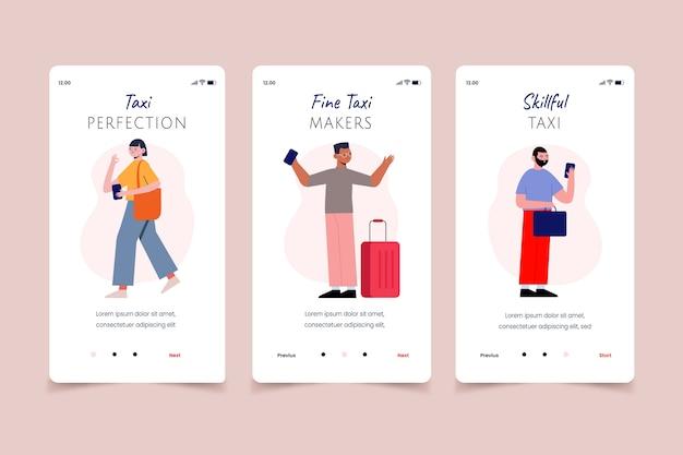 Mensen die om mobiele app-schermen voor taxiservices vragen