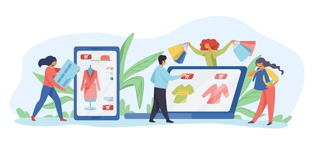 Mensen die online aankopen doen