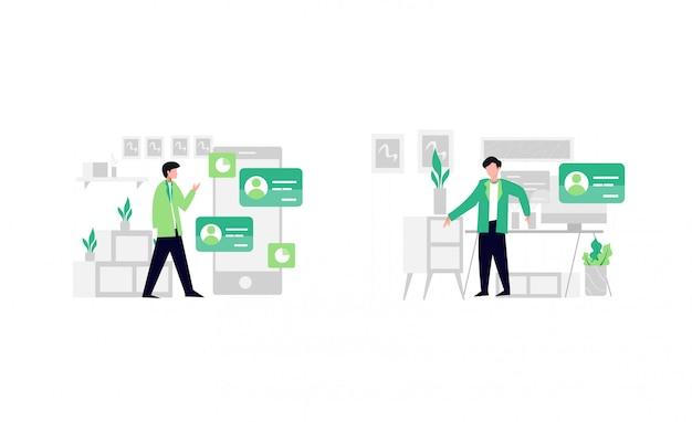 Mensen die online apps gebruiken op smartphone en desktop