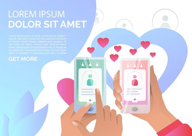 Mensen die online datinge toepassing op smartphones gebruiken