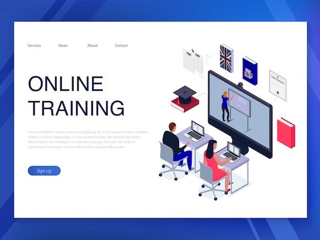 Mensen die online horizontale isometrische banner op blauwe 3d opleiden