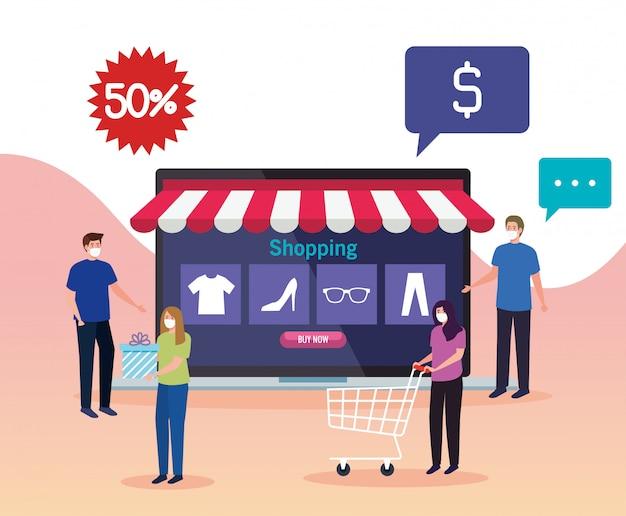 Mensen die online kopen tijdens covid 19, conceptmarketing en digitale marketing in laptop met korting