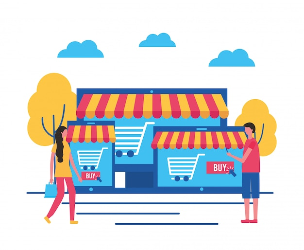 Mensen die online kopen