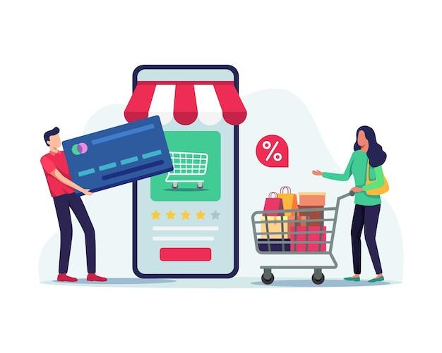 Mensen die online transacties doen. winkelen en betalen via mobiel, illustratie in een vlakke stijl