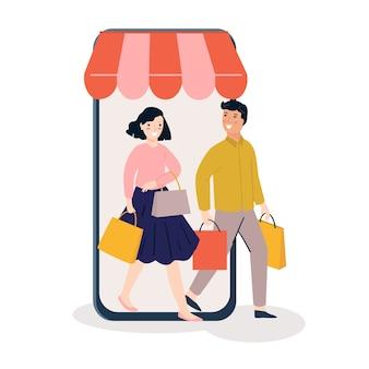 Mensen die online winkelen