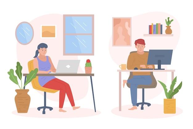 Mensen die op afstand werken geïllustreerd