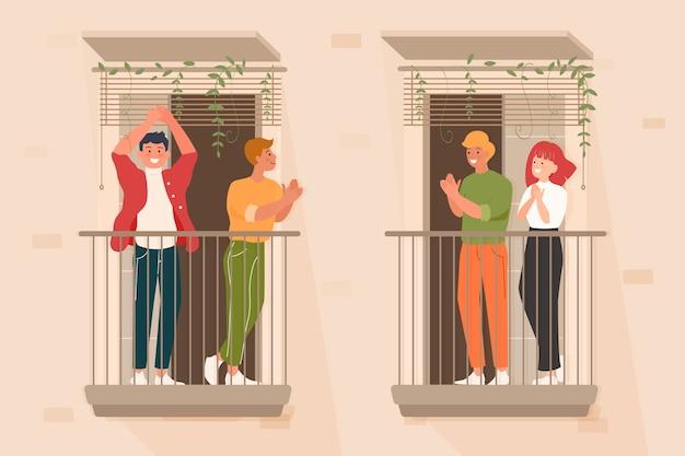 Mensen die op geïllustreerde balkons slaan