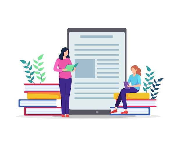 Mensen die op grote boeken zitten. online cursussen bekijken op tablet. in vlakke stijl