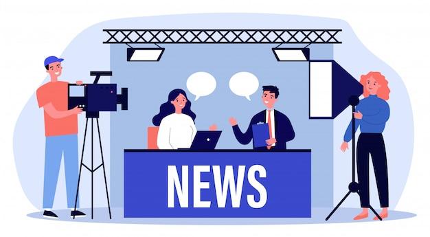 Mensen die op tv-studio nieuwsillustratie maken