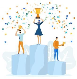 Mensen die op winnend podium staan met prijzen.