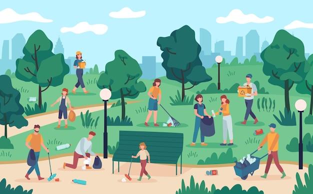 Mensen die park schoonmaken. communautair team verzamelt afval uit de natuur. vectorecologievrijwilligers beschermen het milieu tegen vervuiling. ecologieconcept, afval en vuilnis verzamelde vrijwilligersillustratie