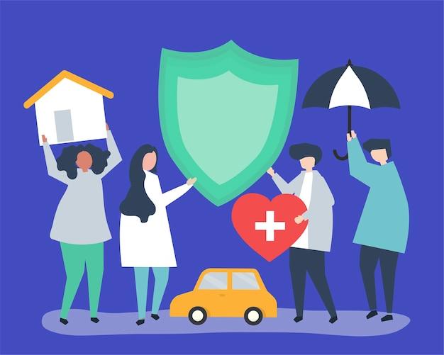 Mensen die pictogrammen dragen die verband houden met verzekeringen