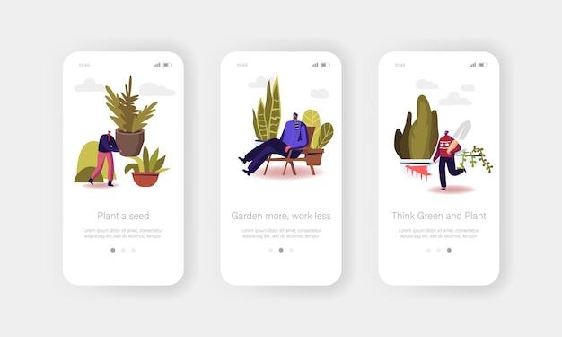 Mensen die planten kweken mobiele app-pagina aan boord van schermsjabloon