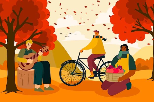 Mensen die plezier hebben in de herfsttijd Gratis Vector