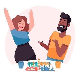 Mensen die plezier hebben met het spelen van ludo-spel