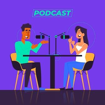 Mensen die podcast opnemen