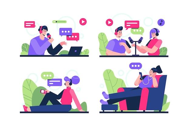 Mensen die podcasts opnemen en beluisteren