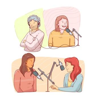 Mensen die podcasts opnemen en ernaar luisteren