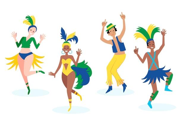 Mensen die pret hebben en in braziliaans carnaval dansen