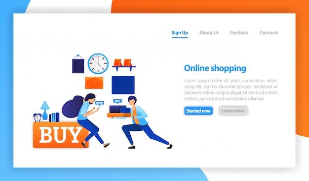 Mensen die producten online thuis kopen