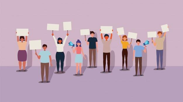 Mensen die protesteren voor mensenrechtenbanner