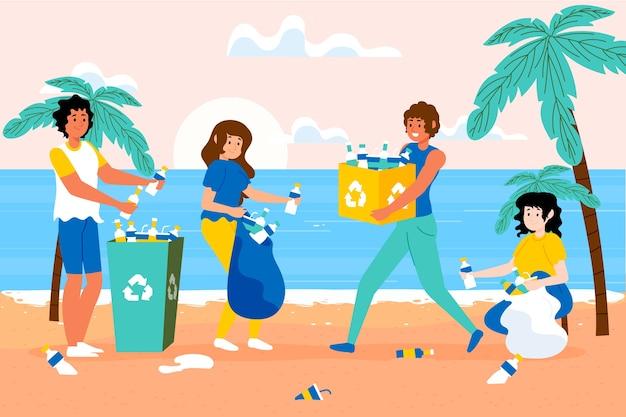 Mensen die puin op strand schoonmaken