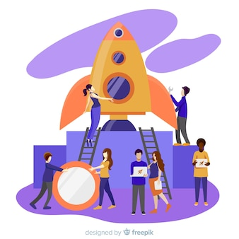Mensen die raketachtergrond bouwen