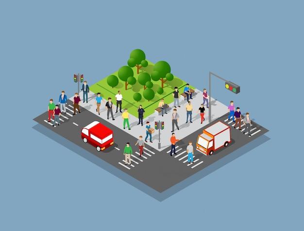 Mensen die rond de stad lopen