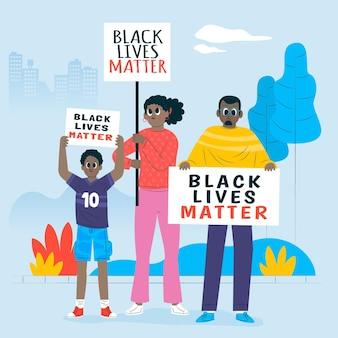 Mensen die samen deelnemen aan zwarte levens zijn belangrijk voor beweging