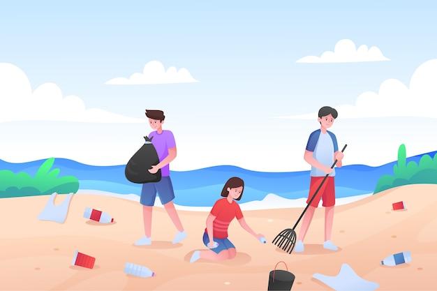 Mensen die samen een geïllustreerd strand schoonmaken