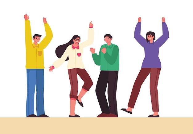 Mensen die samen illustratieontwerp vieren