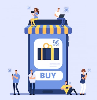 Mensen die smartphone gebruiken voor mobiel winkelen.