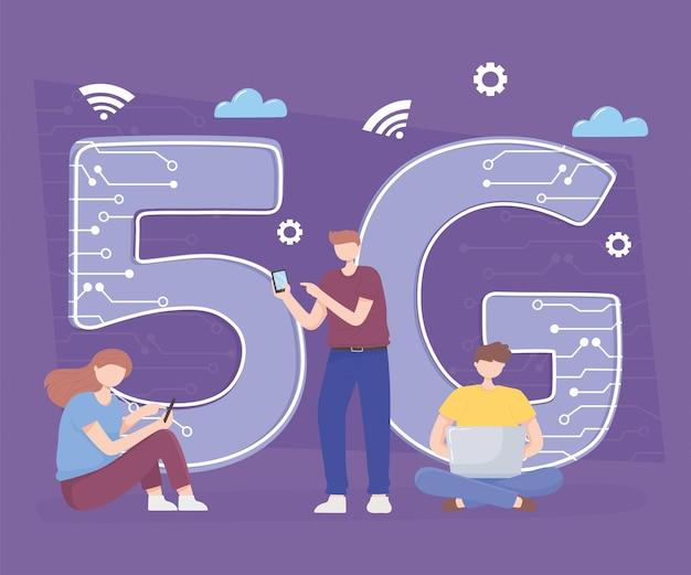Mensen die smartphone, laptop apparaten technologie draadloze verbinding 5g generatie illustratie gebruiken