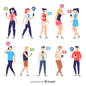 Mensen die smartphones houden