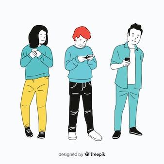 Mensen die smartphones in koreaanse tekenstijl houden