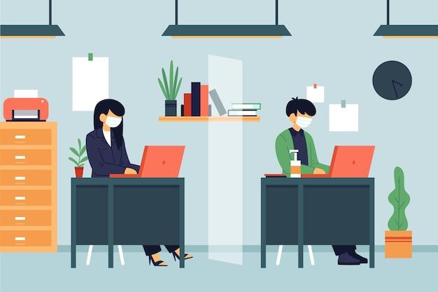 Mensen die sociaal afstand nemen op hun werk