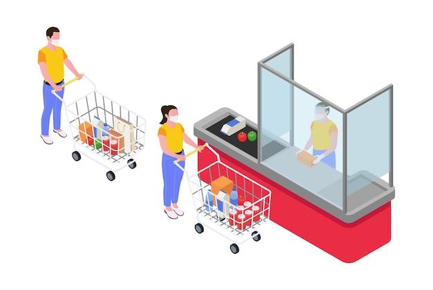 Mensen die sociale afstand houden in supermarkt en kassier achter beschermende barrière isometrisch