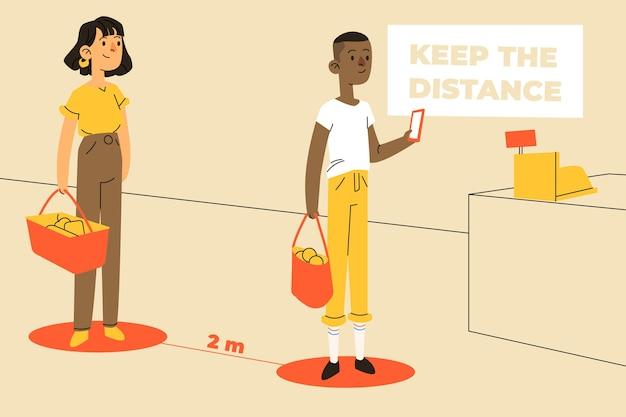 Mensen die sociale afstand uitoefenen bij de supermarkt