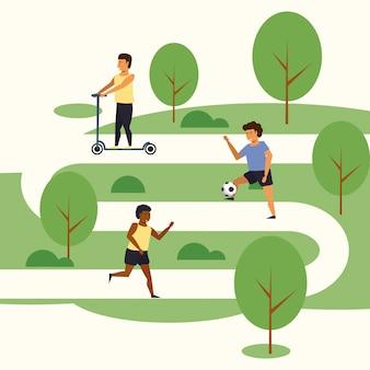 Mensen die sporten bij park opleiden