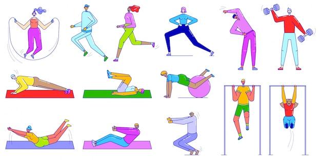 Mensen die sportoefeningen doen, illustratie van sportieve mensen doen gymnastische oefeningen, stretchen, yoga, rennen in lijnstijl.