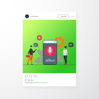 Mensen die spraakassistent-app gebruiken op smartphone met luidspreker op scherm