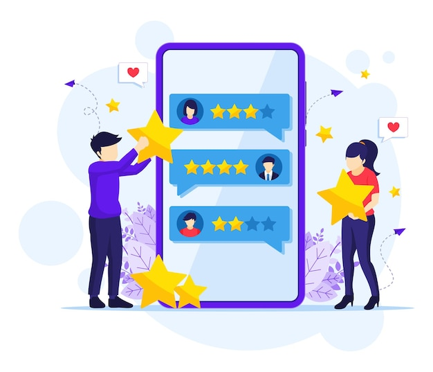 Mensen die sterren beoordelen en feedback geven Premium Vector