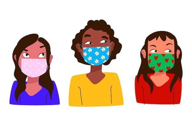 Mensen die stoffen gezichtsmaskers dragen die verschillende soorten gezichtsmaskers zien