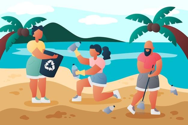 Mensen die strand bij daglicht schoonmaken