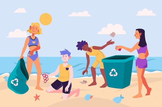 Mensen die strand van vuilnis schoonmaken